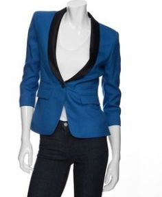 SMYTHE Colorblock blue blazer. browse Board or Pins for more.