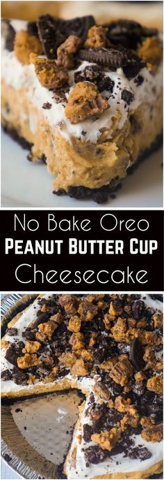 No Bake Oreo Peanut Butter Cup Cheesecake is a quick and easy dessert recipe perfect for any occasion. An Oreo cookie pie crust is filled with a delicious peanut butter and cream cheese mixture loaded with pieces of Reese's Peanut Butter Cups and Oreo cookies. This chocolate peanut butter dessert is perfect for summer.