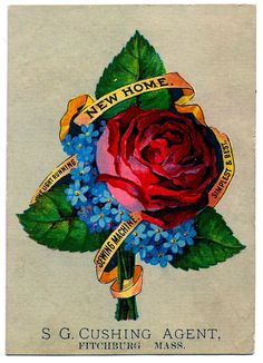 Vintage Graphic - Rose Bouquet - Sewing Ad - The Graphics Fairy