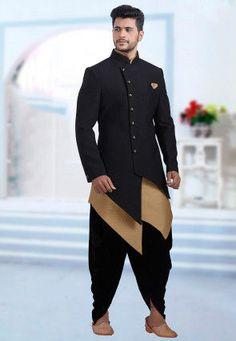 Plain Art Silk Jacquard Jodhpuri Suit in Black