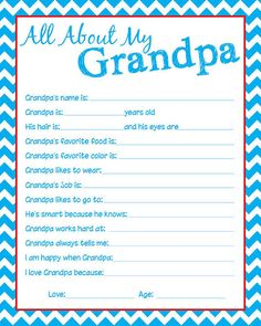 Granpda Questionnaire Let the kids fill one out by KinneyDesigns, $1.00