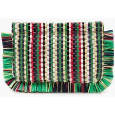 J.Crew Striped Straw Clutch (€150) ❤ liked on Polyvore featuring bags, handbags, clutches, j crew purses, straw purse, straw handbags, striped purse and stripe handbag