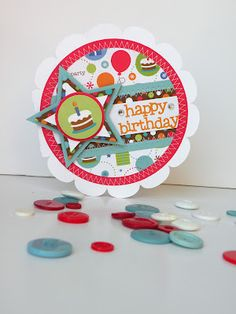 Use a plain circle instead of a scallop for a boy card.  Doodlebug Design Inc Blog: Surprise Party Collection- Birthday Cards + Giveaway