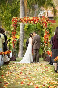 The beautiful ceremony site in red and orange.   	Photo by Caroline Tran