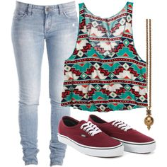 Clothes Casual Outift for • teens • movie • girls • women •. summer • fall • spring • winter • outfit ideas • date • school • parties • Aztec • skinny jeans • maroon • turquoise • vans Find more women fashion ideas on popmiss.com