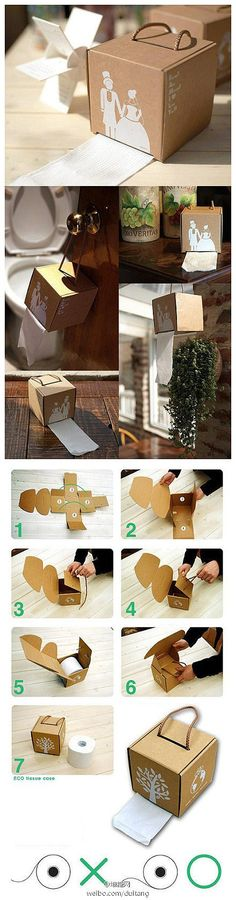 Cute idea for a bathroom that is too small or doesn't have a good spot for a TP holder.