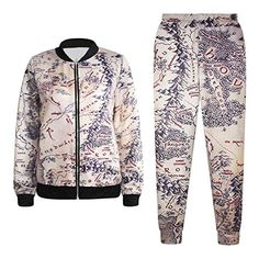 """Womens Printed 2 Piece Joggers Tracksuit Sports Suit Set Coat + Sweatpant  Pants Size:   Free size: Waist: 24.4-29.9"""" , Hips: 35.0"""",Thigh: 20.9"""", Full Length: ..."""