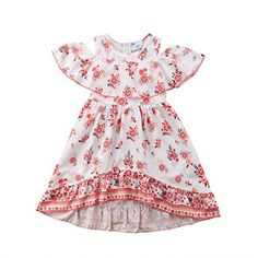 abeb5c2aad9 iumei Toddler Kids Baby Girls Summer Clothes Floral Print Off Shoulder  Dress Beach Sundress