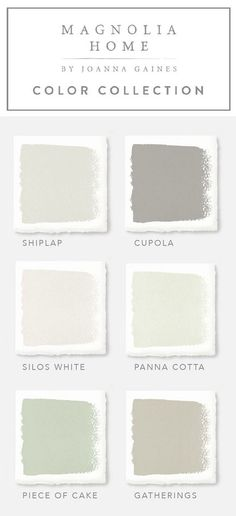 Joanna Gaines Paint Colors. Magnolia Home by Joanna Gaines Paint Colors: Magnolia Home Paint Color Shiplap -A creamy, weathered white. Magnolia Home Paint Color Cupola - A pure gray lightly dusted with a tan hue. Magnolia Home Paint Color Silos White - Warm white with beige hues. Magnolia Home Paint Color Panna Cotta - Crisp white lightly dusted with beige. Magnolia Home Paint Color Piece of Cake - White with green undertones. Magnolia Home Paint Color Gatherings - Golden gray with amber and ...