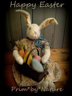 Primitive Rabbit Doll with Basket of Carrots and Easter Eggs | eBay