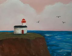 Bay of Fundy mud painting. Painted with authentic Bay of Fundy mud and acrylics. Cape D'or Lighthouse advocate Harbour nova Scotia by artist Jacquie Boucher www.jacquieboucher.com Mud Paint, Nova Scotia, Acrylics, Lighthouse, Cape, Canada, Artist, Painting, Bell Rock Lighthouse