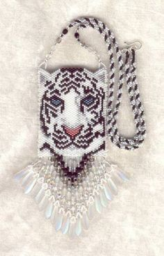 white tiger peers at you with stunning aqua eyes. Beading Patterns Free, Bead Loom Patterns, Weaving Patterns, Free Seed Bead Patterns, Peyote Patterns, Beading Projects, Beading Tutorials, Beaded Necklace Patterns, Bracelet Patterns