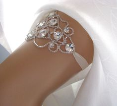 Crystal Wedding Garter, Rhinestone Bridal Garter, Keepsake Heirloom Ivory White Garter #whitewonderland