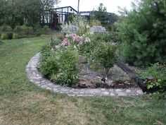 Great Edging or mow strip - another idea for easier mowing around beds