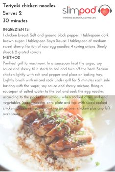 Healthy and delicious Teriyaki chicken noodles Teriyaki Chicken Noodles, Easy Food To Make, Transformation Body, Food Cravings, Nutritious Meals, Healthy Lifestyle, Healthy Living, Lose Weight, Stuffed Peppers
