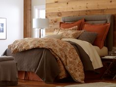 Baroque Gold Duvet Cover & Shams. This looks ultra cozy with Olivia in Driftwood. #peacockalley #rustic #bedding