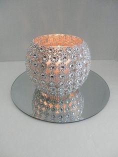 7 piezas de Mercurio Plata//Oro Cristal Luz De Té Candelero Set//Bandeja weddingdecor £ 18