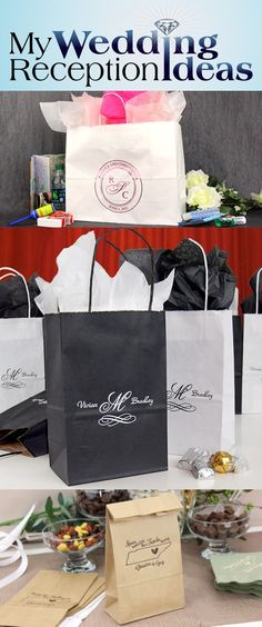 From wedding reception favors to out of town and hotel guest gifts, personalized gift bags add that extra special touch to than everyone for being a part of your wedding day. Large, roomy paper gift bags are perfect for holding comfort items to help make your out-of-town-guests feel more comfortable and a little more special during their stay. Medium and small size gift bags are great for treats, snacks, wedding favors and wedding party gift giving.