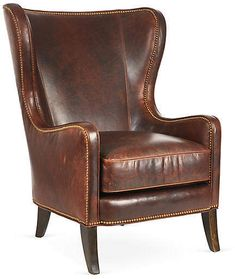 Massoud Furniture Dempsey Wingback Chair, Bourbon Leather, Upholstered in sumptuous leather, this wingback chair will bring a quiet stateliness to any setting. Gleaming nailhead trim accentuates the classic silhouette. Handcrafted in the USA. Leather Wingback Chair, Leather Furniture, Leather Sofa, Brown Furniture, Leather Chairs, Brown Leather, Bedroom Chair, Sofa Chair, Wingback Chairs