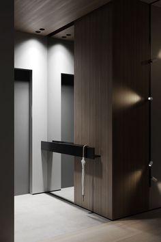 Interior Design - KHamilon - on Behance Bridesmaid Jewelry - a wonderful gift. Home Room Design, Home Interior Design, Interior Architecture, Living Room Designs, House Design, Flur Design, Modern Entrance, Modern Hall, Hallway Designs