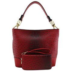 4e0fd23e645f 2 PC Set Ostrich Hobo Shoulder Bag with Big Snap Hook and Wallet -  handbagshaven.com Handbagshaven.com has on sale Ladies Leather Bags and  Leather Fashion ...