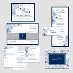 Invitation Idea | Wedding Paper | Table Numbers | Wedding Menu | Thank You Cards | Annette Ward Studio | www.WeddingSourceStudio.com