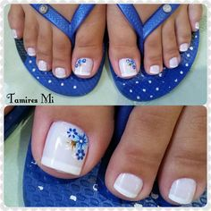 Nails art 2018 foot 43 Ideas for 2019 French Pedicure, Pedicure Nail Art, Toe Nail Art, Toe Nails, Pedicure Designs, Toe Nail Designs, Trendy Nail Art, Flower Nails, Simple Nails