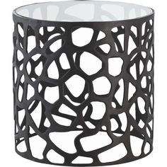 Arteriors Black Ennis Drum Side Table (63.425 RUB) ❤ liked on Polyvore featuring home, furniture, tables, accent tables, home decor, end table, black table, black end table, drum end table and onyx furniture