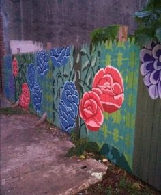 Bright colour roses mural on a wooden fence,