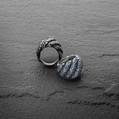 Rings from the new Hampton Cable Collection®, with black diamonds, gray diamonds, blue sapphires, and lavender spinels.