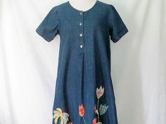 Vintage Denim Dress 90's Jean Dress Floral Jean by ChinaCatVintage