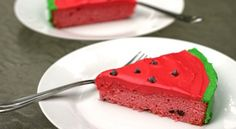 Watermelon Cake - It's a white cake mix with frozen lemonade concentrate, so it won't taste like watermelon.