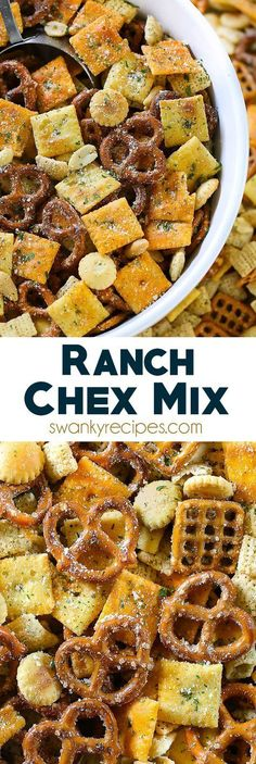 Ranch Chex Mix made for a crowd. My favorite snack mix is loaded with peanuts, cheese crackers, pretzels, and rice cereal. This easy zesty Ranch Chex Mix is perfect for parties and school lunches. christmas recipes for parties Snack Mix Recipes, Yummy Snacks, Appetizer Recipes, Healthy Snacks, Cooking Recipes, Yummy Food, Easy Party Snacks, Snack Mixes, Kid Snacks