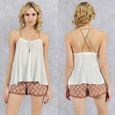 SUSIE sexy back tank - OFF WHITE How super dainty yet sexy is this? Can be worn loose or tucked in. PRICE FIRM Bellanblue Tops Tank Tops