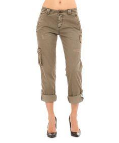 Khaki Army Fatigue Capri Cargo Pants