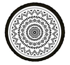 Tribe of us round black and white print beach towel