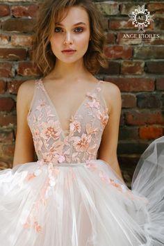 Rose Wedding Dress Floaty Wedding Dress, Wedding Dresses With Flowers, Dream Wedding Dresses, Flower Girl Dresses, Pink Wedding Gowns, Whimsical Wedding Dresses, Gown Wedding, Dress With Flowers, Unique Colored Wedding Dresses