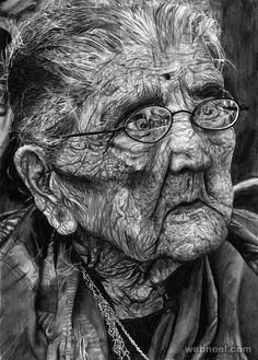 amazing drawing old woman lady