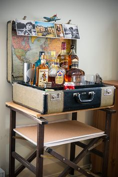 To read more about how I put this together go to http://anythingretro.blogspot.ca/2015/09/retro-mini-bar-in-suitcase.html