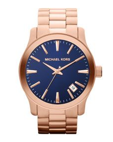 d27a7393931c71 Michael Kors Oversize Rose Golden Stainless Steel Runway Three-Hand Watch  Price   250.00 Michael