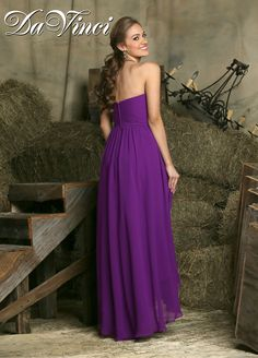 Choose Fall 2015 DaVinci Bridesmaid Style 60224 for bridesmaids and matrons of all shapes & sizes. This chiffon, A line dress has a strapless, ruched, sweetheart bodice, a natural waist, a pleated belt, and a breezy, slightly draped, hi-lo skirt. The high-low hemline is both fashionable and practical for formal and semi-formal events so your bridesmaids dresses are versatile and pretty. Shown in purplish, this dress is can flatter your bridal party in 50+ chic shades. Optional straps…