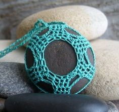 River Rock Necklace  Pendant  Hand Crocheted  by TheTreeFolkHollow, $15.00
