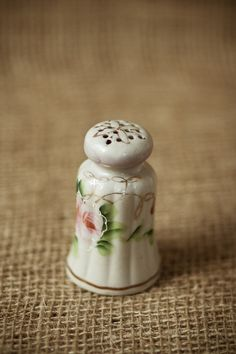 Vintage Hat Pin Holder Handpainted China/Ceramic with Gold Accents