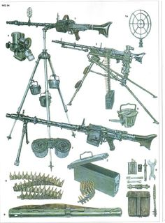 Illustration of a Maschinengewehr 34 (English: Machine Gun MG Chambered for Mauser cartridges. Military Weapons, Military Art, Military History, German Soldiers Ww2, German Army, Mg34, Ww2 Weapons, Military Drawings, German Uniforms
