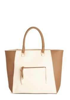 My Fair Latte Bag - Solid, Pockets, Work, Colorblocking, Good, White, Faux Leather, Cream, Tan / Cream, Travel, Minimal