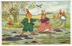 Vintage Fantasy Humanized Dressed Bunny Rabbits A/S Margaret Tempest  Postcard