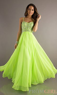 Long Sweetheart Chiffon Gown with Removable Straps at PromGirl.com