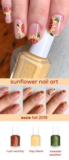 nail small nail small Jeffrey Lee Nail get a sunflower nail art look for fall with the essie fall 2019 shades nbsp hellip weather essie Fancy Nails, Diy Nails, Cute Nails, Pretty Nails, Fall Nail Designs, Cute Nail Designs, Sunflower Nail Art, Small Sunflower, Colorful Nail Art