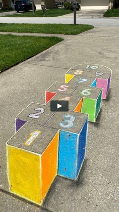 Learn how to update your hopscotch game! Craft Activities, Preschool Crafts, Toddler Activities, Fun Crafts, Crafts For Kids, Playground Painting, Outdoor Fun For Kids, Sidewalk Chalk Art, Hopscotch