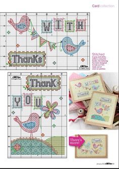 Thank you cards cross stitch